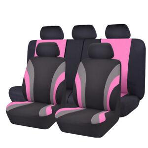Universal Black Pink Car Seat Cover Polyester Split Rear for Honda Ford SUV Van