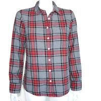 J. CREW Gray Red Tartan Plaid Button Down Shirt Top size 4