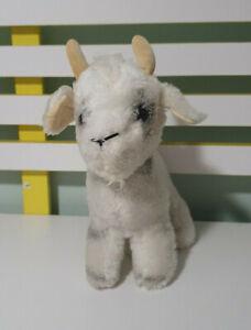 Vintage Dakin Plush Goat 1977 White Black Stuffed Animal Toy 21CM Long