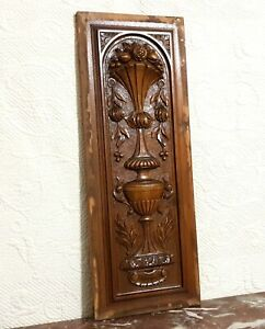 Fruit flower garland vase carving panel Antique french architectural salvage