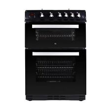 iQ 60cm Dual Fuel Cooker with Double Oven - Black