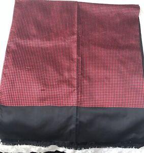 Vintage Retro Pre Loved 100 % Silk Mod Rare Scarf Jacques Heim Paris Navy Red