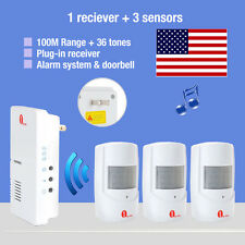 3 Motion Sensors Wireless Doorbell Driveway Detector Alarm System Home Security