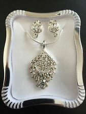 Luxury Silver Crystal Pendant Necklace and Earring Set