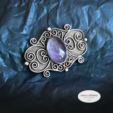*Vintage OLD Mexican Brooch AMETHYST & Silver Just Gorgeous