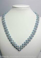 """Halskette """"Kelly"""" mit Perlen (Imitation) blau und Swarovski Montees, handmade"""