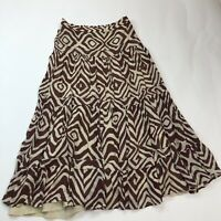 Soft Surroundings Mahogany Broomstick Skirt Women's Size Medium Tiered Rayon
