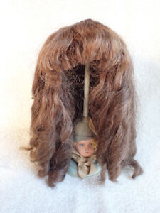 "VERY Large Antique Mohair? Doll Wig As Found 17"" Circumference"