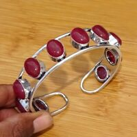 925 Sterling Silver Plated Red Ruby Bracelet Bangle Cuff Jewelry BANE12