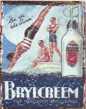 BRYLCREEM METAL SIGN 6X8in 15x20cm bathroom tin barbers vintage style shop cafe