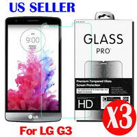 3X Premium Real Tempered Glass Screen Protector Protective Film Guard for LG G3