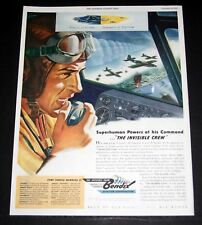 1943 WWII MAGAZINE PRINT AD, BENDIX AVIATION, SUPERHUMAM POWERS AT HIS COMMAND!