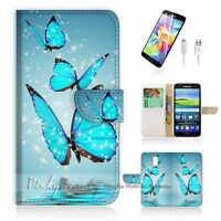 ( For Samsung S5 ) Wallet Case Cover Beautiful Butterfly Blue P0225