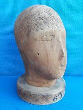 More details for antique vintage millinery hat block wooden mannequin  head  30cm high