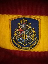 "Harry Potter Gryffindor House Knit Stripe 44"" Scarf Emblem Patch Tassel Red Gold"