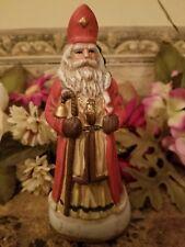 """Vintage Hand Painted Ceramic Santa Figurine """"Belgium"""" 6 1/2"""" Tall"""