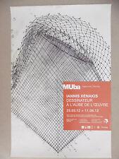 Affiche originale Iannis XENAKIS Musée E. Leroy Tourcoing Musique Dessin Grèce