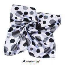 Foulard Carré satin polyester soie artificielle Gros Pois noirs gris Fond blanc
