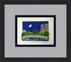 John Suchy Central Park Bow Bridge NYC L/ED Signed 3D POP ART Custom Framed