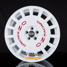 4 Cerchi in lega OZ RALLY RACING RACE WHITE + RED famous 8x17 et25 4x108 ml75 NUOVO