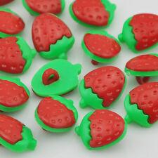 100 pcs Strawberry Plastic Button backhole craft Red Color PT37
