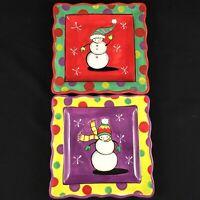 2 Plates Jennifer Brinley Certified International Holiday Christmas Snowman