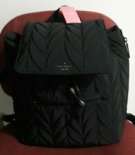 NWT AUTHENTIC KATE SPADE BLACK ELLIE QUILTED NYLON LARGE FLAP BACKPACK BAG PURSE