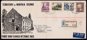 1953 Norfolk Island Definitives (4) on REGISTERED FDC to QLD