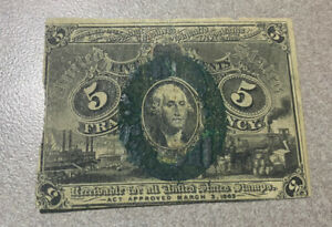 1863 5 Cent Fractional Currency Bill