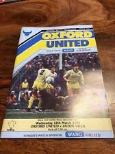 OXFORD UNITED V ASTON VILLA 1986 LEAGUE CUP MILK CUP SEMI FINAL PROGRAMME MINT