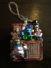 Pottery Barn Santa Toy Chest Glass Christmas Ornament New