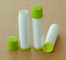 100 NEW Empty WHITE w/ LIME GREEN CAPS & BOTTOMS Lip Balm Chapstick Tubes .15 oz