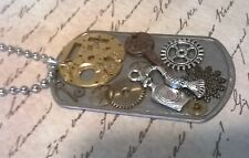 Steampunk Collage Pendant Vintage Key Perfume Watch Parts Dog Tag Necklace D197