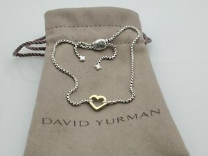 David Yurman Cable Collectibles Heart Station Bracelet with 18K Yellow Gold