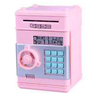 Money Safe Saving Box Cash Coin Bank Can Mini ATM Kids Toy Girls Gift Pink