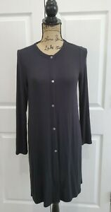 J Jill Wearever Collection Black Tunic Top Duster Long Sleeve Petite XS
