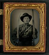 Photo Civil War Confederate Double Barrel Shotgun Bowie Knife and Two Pistols