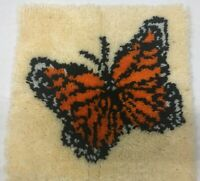 """Butterfly Latch Hook Rug Wall Hanging Carpet Shag Complete 16""""  X 16""""  Vintage"""