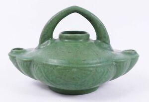 Early Roseville Egypto Pottery Matte Green Double Oil Lamp