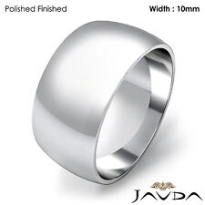 Mens Dome High Polish Wedding Band Solid Classic Ring 10mm 14k Gold White 10gram