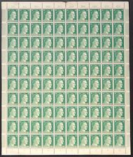 COMPLETE SHEET of 100 AUTHENTIC WWII THIRD REICH HITLER HEAD STAMPS 1944 MNH.