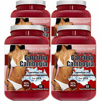 4 Pack PURE Garcinia Cambogia Extract Natural Weight Loss 100% HCA Diet