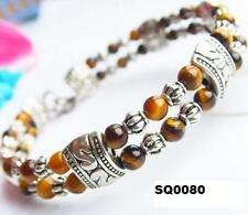 Brown Amber Tiger Eye Tibetan Silver Bracelet Women's Ethnic Birthday Gift Wife