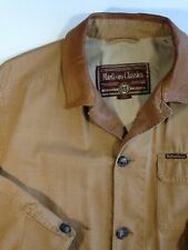 Marlboro Classics Light Canvas Jacket Khaki Fall barn Coat Leather Collar size L