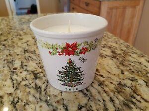 Spode 2016 Pomegranate Spruce 9 Oz Candle Ceramic Chritmas Tree Design