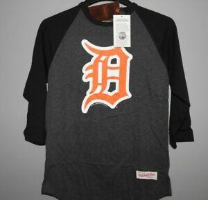 Mitchell & Ness Detroit Tigers Raglan 3/4 Sleeve Jersey Shirt New Mens Sizes $38