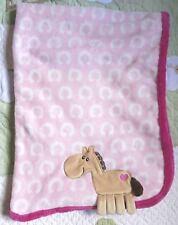 HB Hudson Pink Polyester Plush Floppy Horse Shoes Pony Baby Girl Blanket EUC