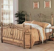 Queen Bed Iron Platform Bed Bedding Gold Metal Antique Brushed Gold New