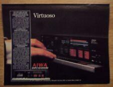 1985 Print Ad AIWA AD-F990 3-Head Cassette Deck ~ Simply Advanced VIRTUOSO