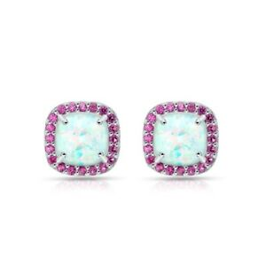 Cushion Cut Halo Simulated Opal & Ruby Stud Earrings in Sterling Silver